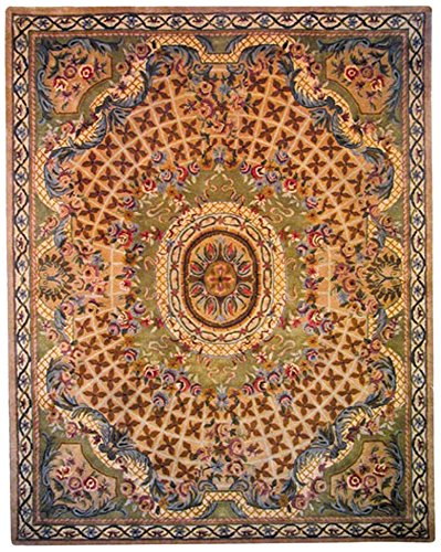(Safavieh Classic Collection CL304D Handmade Traditional Oriental Taupe and Light Green Wool Area Rug (2' x 3'))