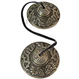 BEAUTIFUL TIBETAN BUDDHIST HEART CHAKRA TINGSHA CYMBALS REIK,I SPACE CLEARING, MEDITATION AID, MUSIC; ON LEATHER CORD; 6CM DIA. EMBOSSED WITH 2 TIBETAN DRAGONS; UNIQUE UNUSUAL GIFT IDEA - Sold by Spiritual Gifts. Usually dispatched within 2 working days.