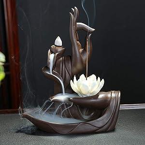 OUYEE Lotus Flower/Monk Backflow Incense Burner, Large Handmade Ceramic Backflow Cone Sticks Incense Holder Home Decor Craftwork Figurine with 10 pcs Incense Cones (A)