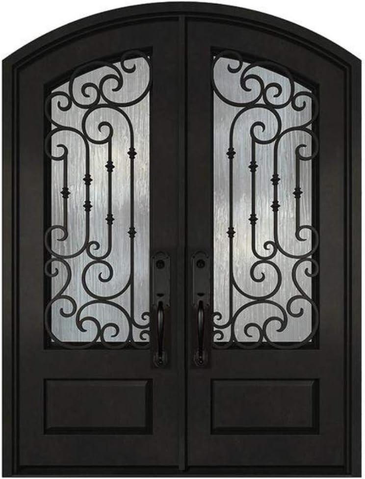 36X36X96 Arc Top Wrought Iron Door Double Front Entry Doors Exterior Doors Pre-Finished Right Hand in-Swing Prehung Door Iron-Glass