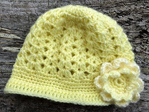 Yellow Baby Hat. Baby Floral Hat. Crocheted Newsboy Style Hat for 3-6 Months Old Baby with Free Shipping