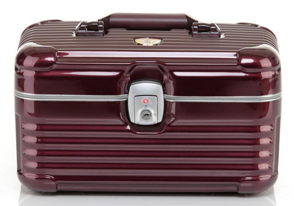 hoyofo PC Material marco de aleación de magnesio maletín de maquillaje portátil impermeable elegante resistente a los arañazos cosméticos caso marrón ...