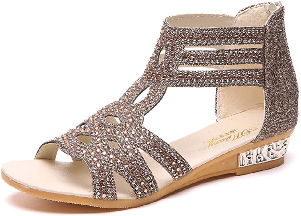 Sandalias Mujer Sandalias Mujer Verano 2019 Sandalias Planas Sandalias de Vestir Playa Zapatos Sandalias de Punta Abierta Roma Casual Sandalias Fiesta C/ómodo Zapatos Tac/ón Alto vpass
