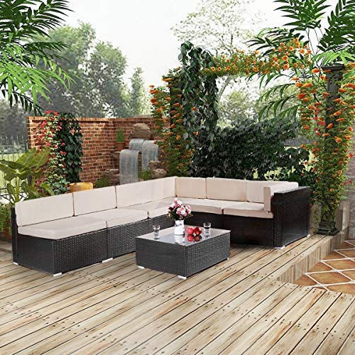 61yf0A3nQyL. AC AECOJOY 7 Piece Patio PE Rattan Wicker Sofa Set, Outdoor Sectional Conversation Furniture Chair Set with Cushions and Table, Black    Product Description