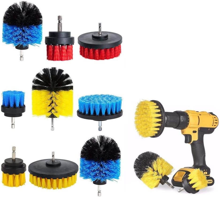 Polishing Accessories Manual Power Tool Accessorie 2/3.5/4 Inch Scrubber Tub Cleaning Brush Red Blue Yellow Electric Drill Brush Tile Grout Power 3 Pcs (Color : Yellow) Yellow
