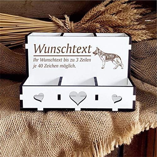 Stiftebox Deutscher Schäferhund - mit Wunschtext - 6 Fächer