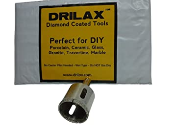 Drilax Diamond Drill Bit Hole Saw 1-3/8 inch Core Glass, Marble, Granite,  Ceramic Porcelain Tiles DIY
