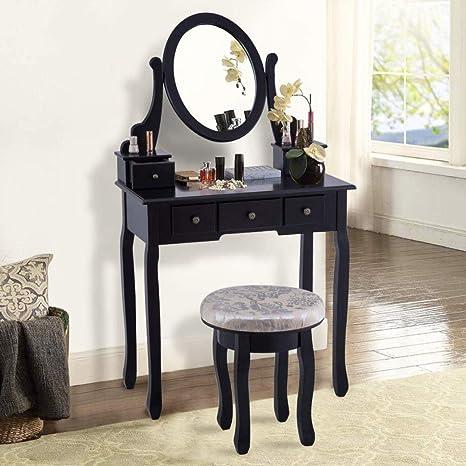 . Amazon com  Vanity Table Set Modern Bedroom Makeup Mirror Dressing