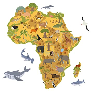 Map Of African Jungle.Wall Sticker Children S Room Africa Map With African Animals Boys
