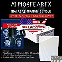 Atmostfearfx Macabre Manor SD Media Card Video Projector Bundle, 1900 Lumen With Built In Media Player
