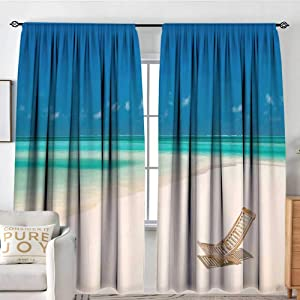 "NUOMANAN Window Blackout Curtains Seaside,Deck Chair on a Sandy Tropical Beach Relaxing Holidays Seascape Picture,Ivory Blue and Aqua,for Room Darkening Panels for Living Room, Bedroom 84""x84"""