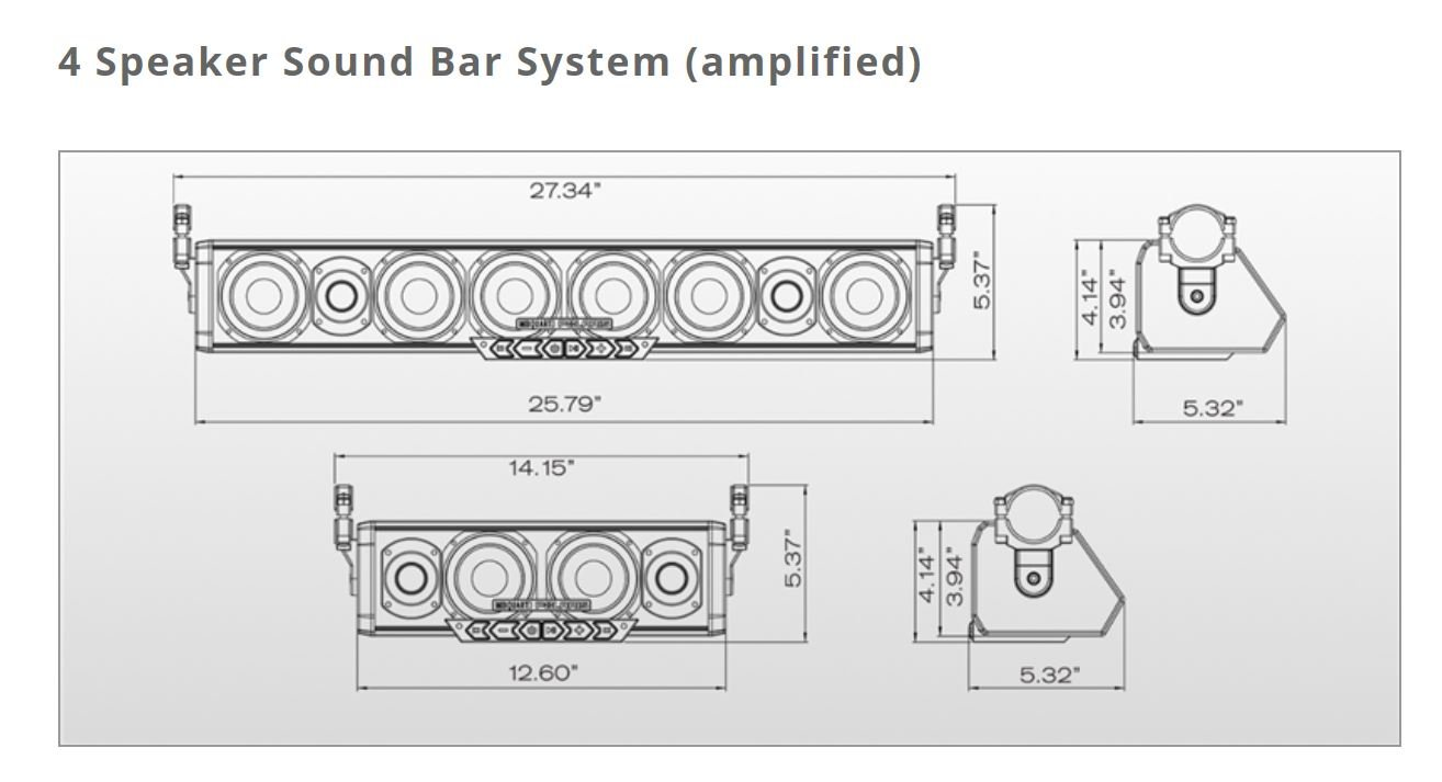 Pro Armor 4 Speaker Bluetooth Sound Bar System Automotive Polaris Rzr 170 Wiring Diagram