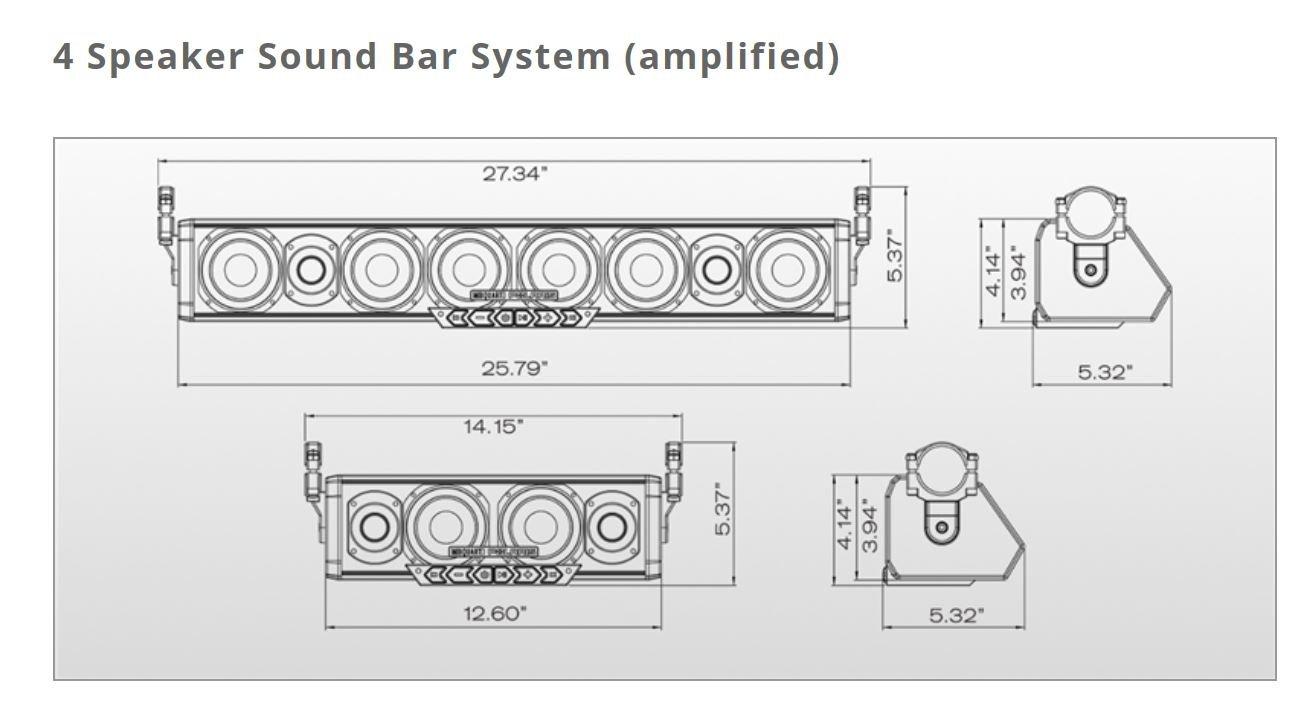 Pro Armor 4 Speaker Bluetooth Sound Bar System on
