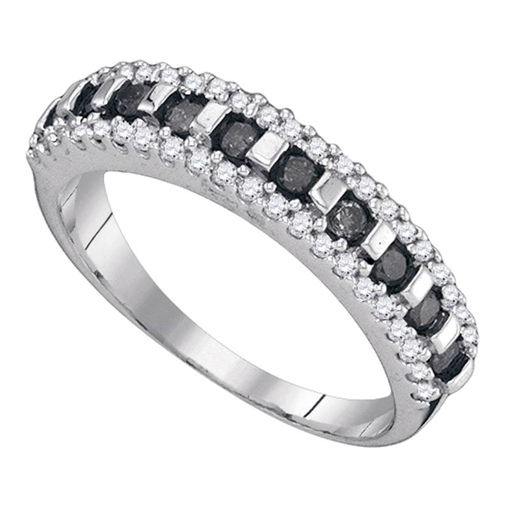 10kt White Gold Womens Round Black Color Enhanced Diamond Symmetrical Band Ring 1/2 Cttw