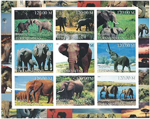Topical Stamp Collection - Stamps for collectors - imperforfate stamp sheet featuring Elephants / groups of elephants / mother and young elephants / Turkmenistan