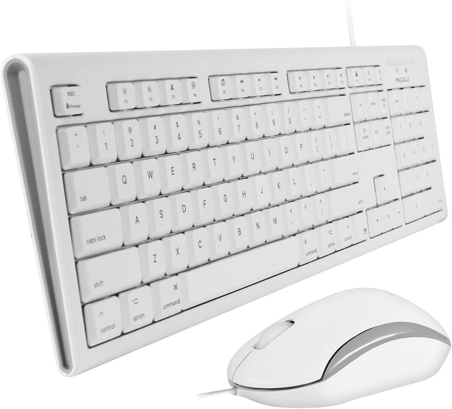 Macally Full Size USB Wired Keyboard & Mouse Combo for Mac Mini Pro, iMac Desktop Computer, MacBook Pro Air Laptops - Mac Compatible Apple Shortcuts, Extended with Number Keypad, Rubber Dome Keycaps