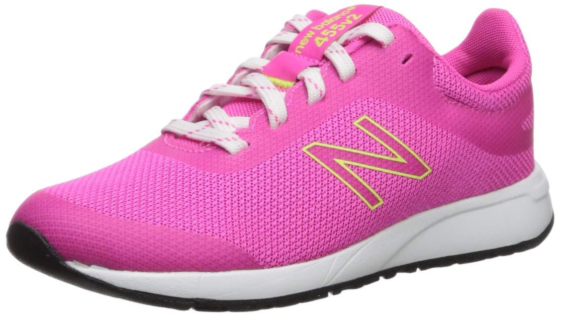 New Balance Girls' 455v2 Running Shoe, PEONY/BLEACHED LIME GLO, 13 M US Little Kid