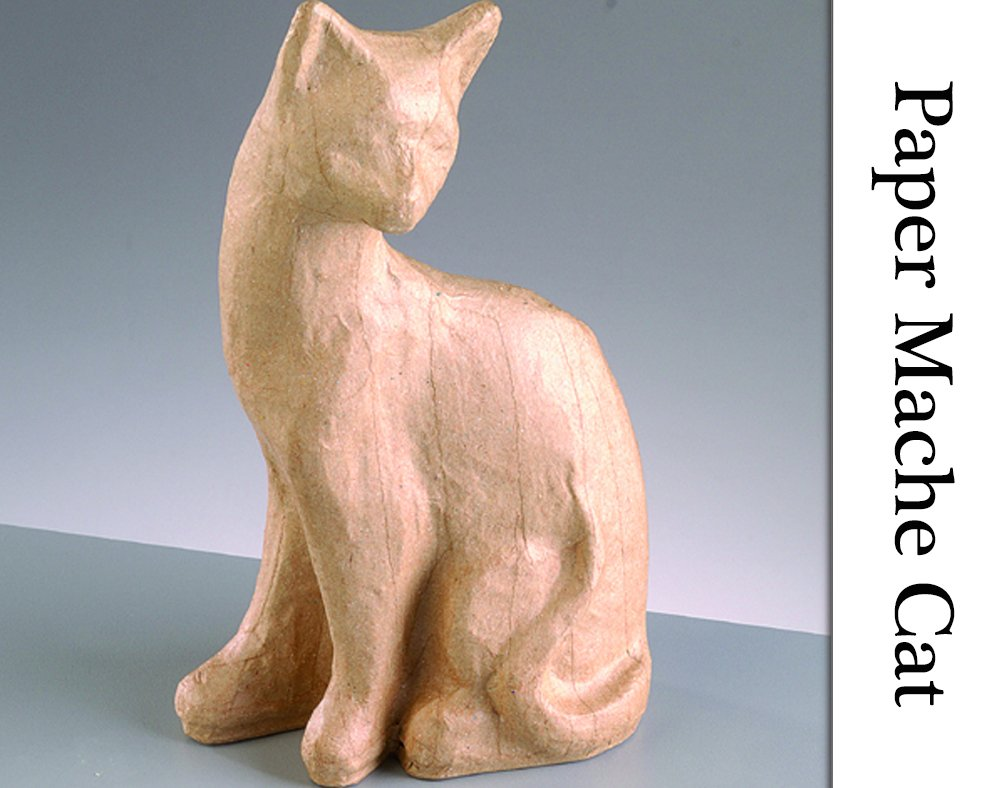 110mm Weighted Paper Mache Sitting Cat to Decorate   Papier Mache Shapes Crafty Capers