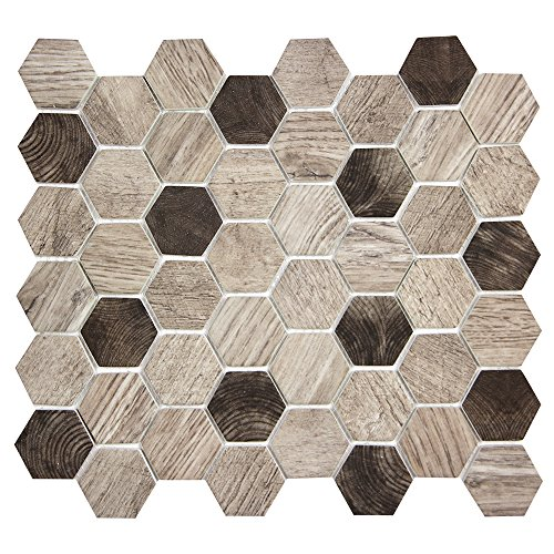 t - Grey Hexagon Wood Pattern With Brown Recycled Glass Tile for Backplashes, Wall, Floors (6 Sheets) (Recycled Glass Floor Tile)