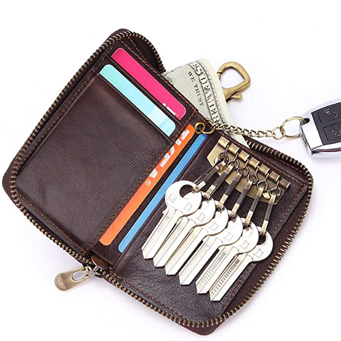 Llave del coche Bolsa de cuero Billetero pequeño Bolso de embrague de 5 tarjetas Cera superior Aceite Cera Bolso de cuero con cremallera (Color : Brown, ...