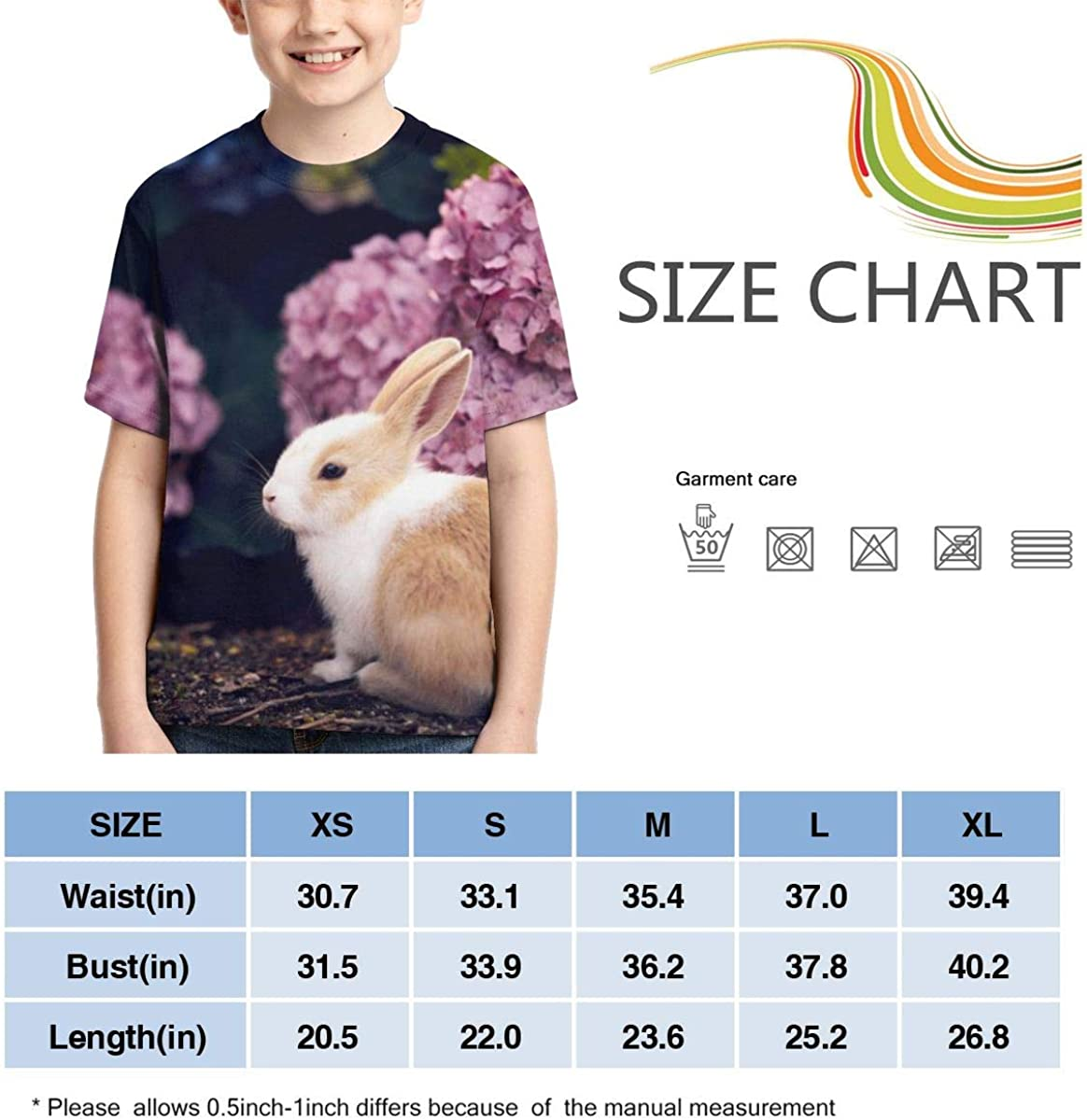 Youth T-Shirts Rabbit Hydrangea Full Printed Short Sleeve Crew Neck Tees Summer Tops for Boys