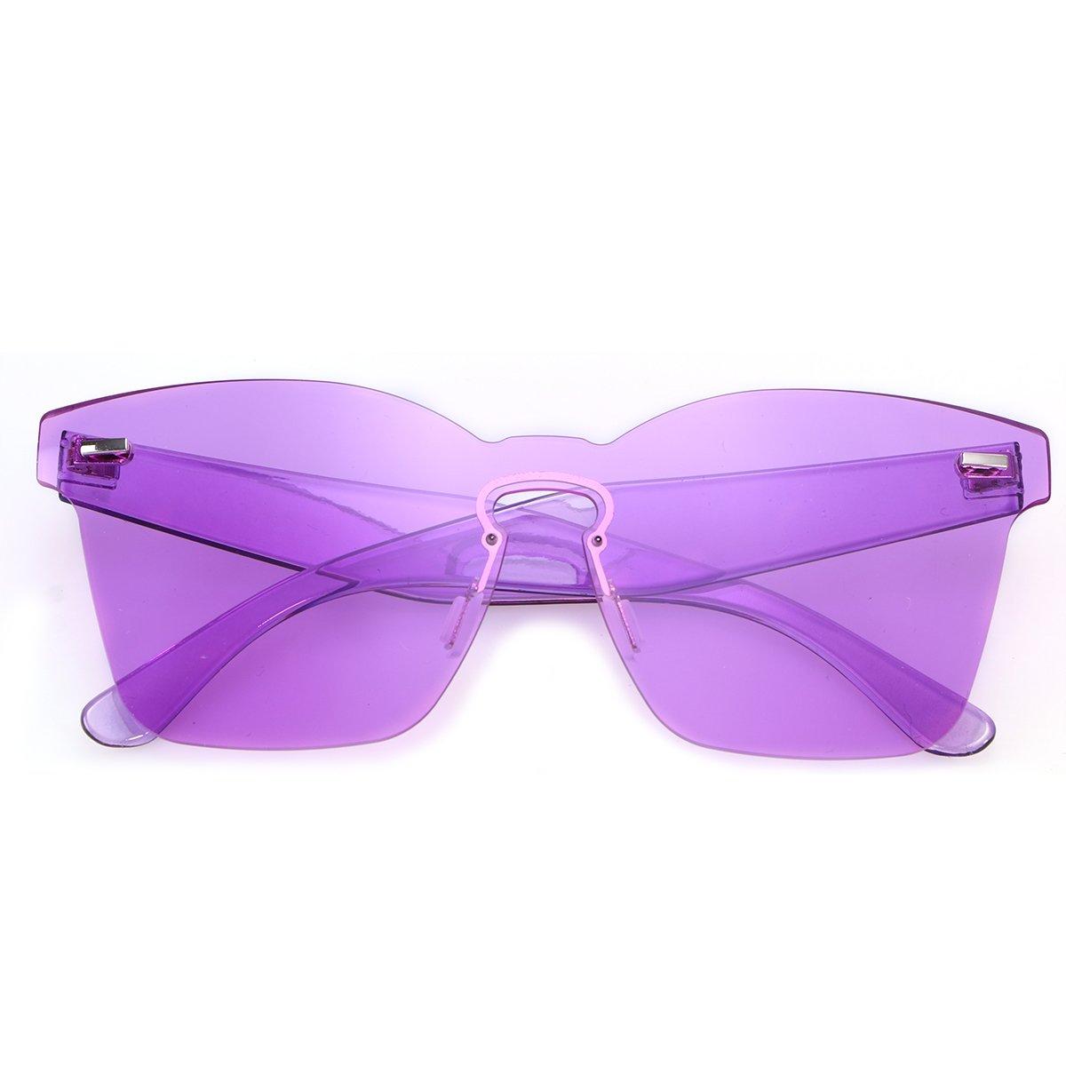 487274ec87ea OULII Rimless Sunglasses Novelty Pratical Beach Seaside Sunglass Mirror  Summer Eyewear for Men Women (Purple) at Amazon Women's Clothing store: