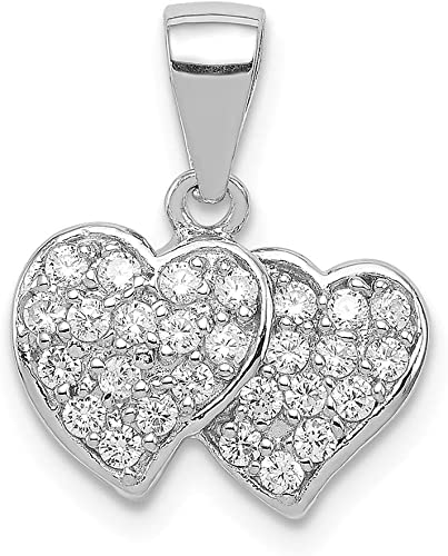925 Sterling Silver Heart Charm With Cubic Zirconia Pendant//Necklace