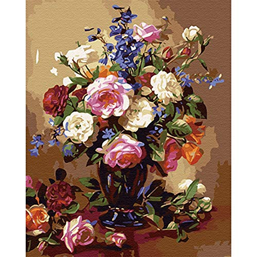 Oil Painting, DIY Painting by Number Kit for Adults Kids Elegant Lyrics Flower 15.7x19.7in 1 Pack by ()