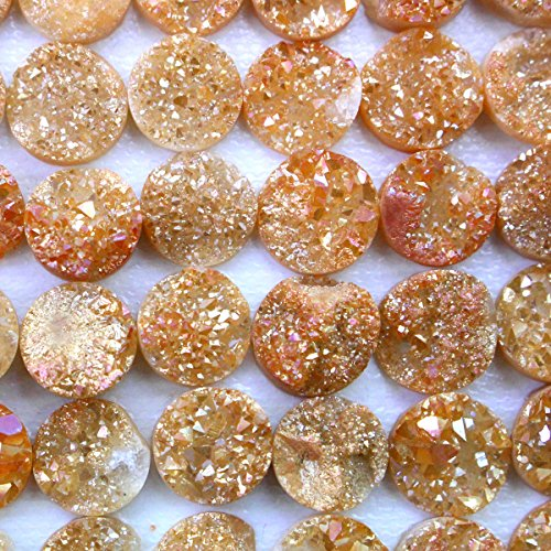 Druzy Beads (5pcs Natural Gemstone Druzy Agate Coin 10mm Cabochons for Jewelry Making Beads Cabs (cab200))