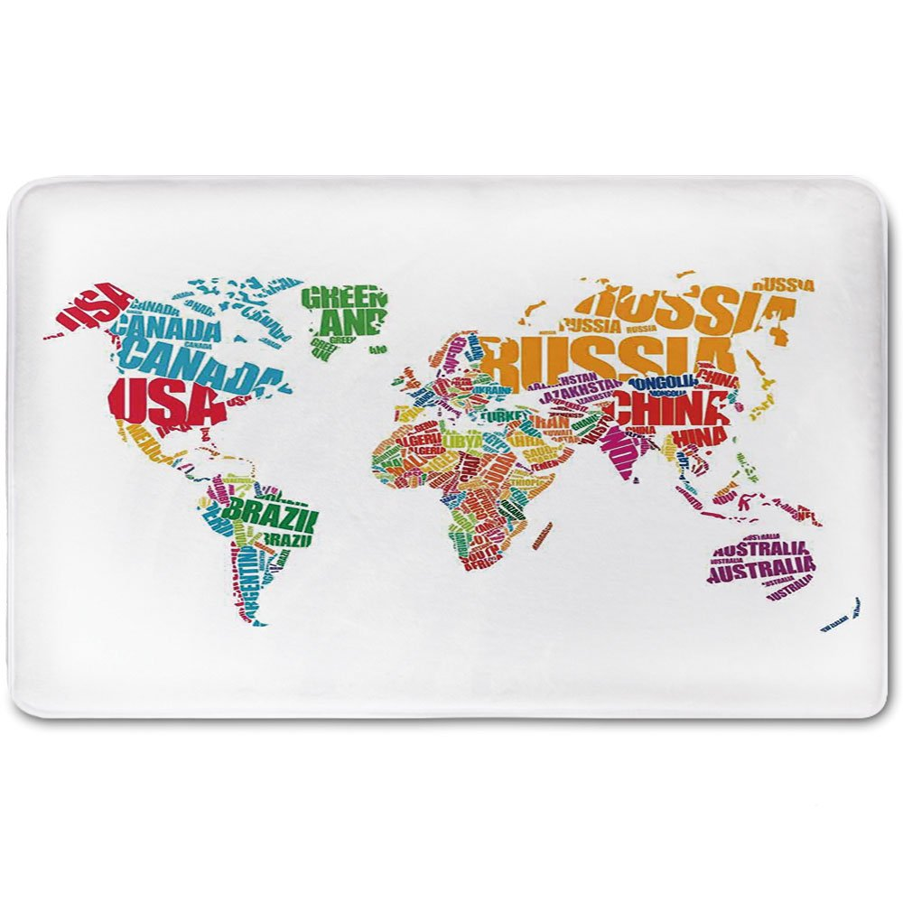 Memory Foam Bath Mat,Wanderlust Decor,World Map Made by Names Continents Europe America Africa Asia Graphic Art DecorativePlush Wanderlust Bathroom Decor Mat Rug Carpet with Anti-Slip Backing,Multi
