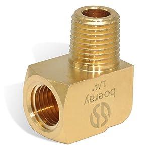 "Boeray (30pcs) 1/4"" NPT Male Pipe, 1/4"" NPT Female Pipe Brass Fitting, 90 Degree Barstock Street Elbow"