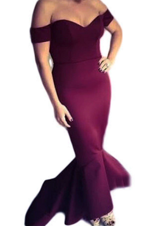 Astylish Womens Evening Dress Off Shoulder Flouncing Mermaid Formal Prom Gowns Medium Wine