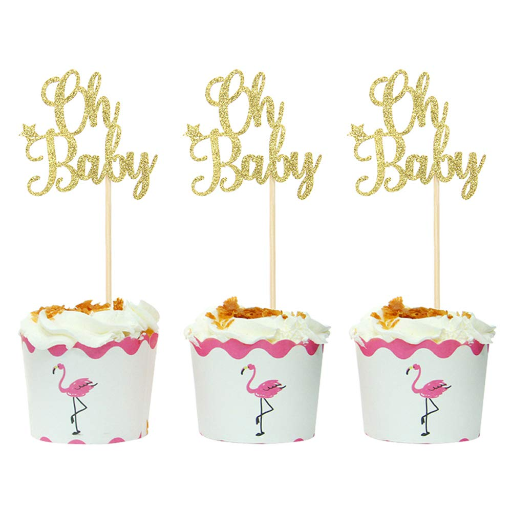 Hongkai Set of 24 Gold Glitter Oh Baby Cake Cupcake Toppers Picks for Wedding Baby First 1st Birthday Boy Girl Baby Shower Gender Reveal Party Decorations Supplies