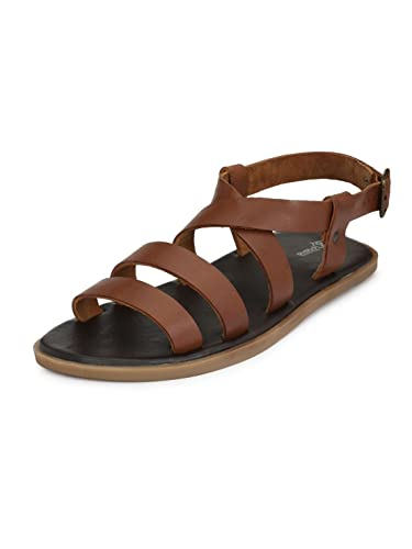 94180b4fa5f Guava Men Anti-Sweat Leather Sandals -Tan  Buy Online at Low Prices in  India - Amazon.in