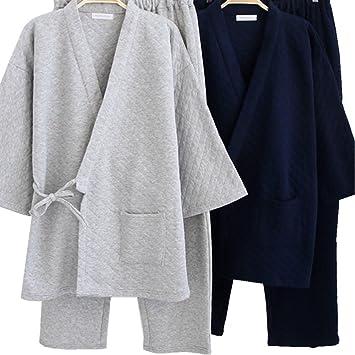 Youmu hombre japonés Kimono de algodón pijama Set de grosor casa perchero baño pijamas ropa de