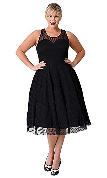 save off b8ab9 49408 KILOLONE Kleider Große Größen 1950er Cocktailkleid Jahrgang Kleider  Spitzenkleid Knielang Rockabilly Kleid S-6XL