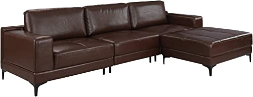 "Modern Leather Sectional Sofa 114.9"" inch"