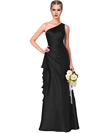 Lily Wedding Womens One Shoulder Satin Bridesmaid Dresses Long