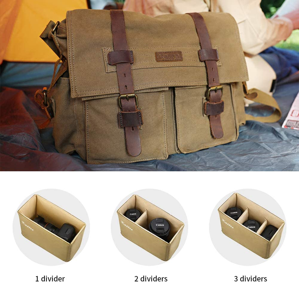 Kattee Canvas Cow Leather DSLR Camera Shoulder Messenger Bag