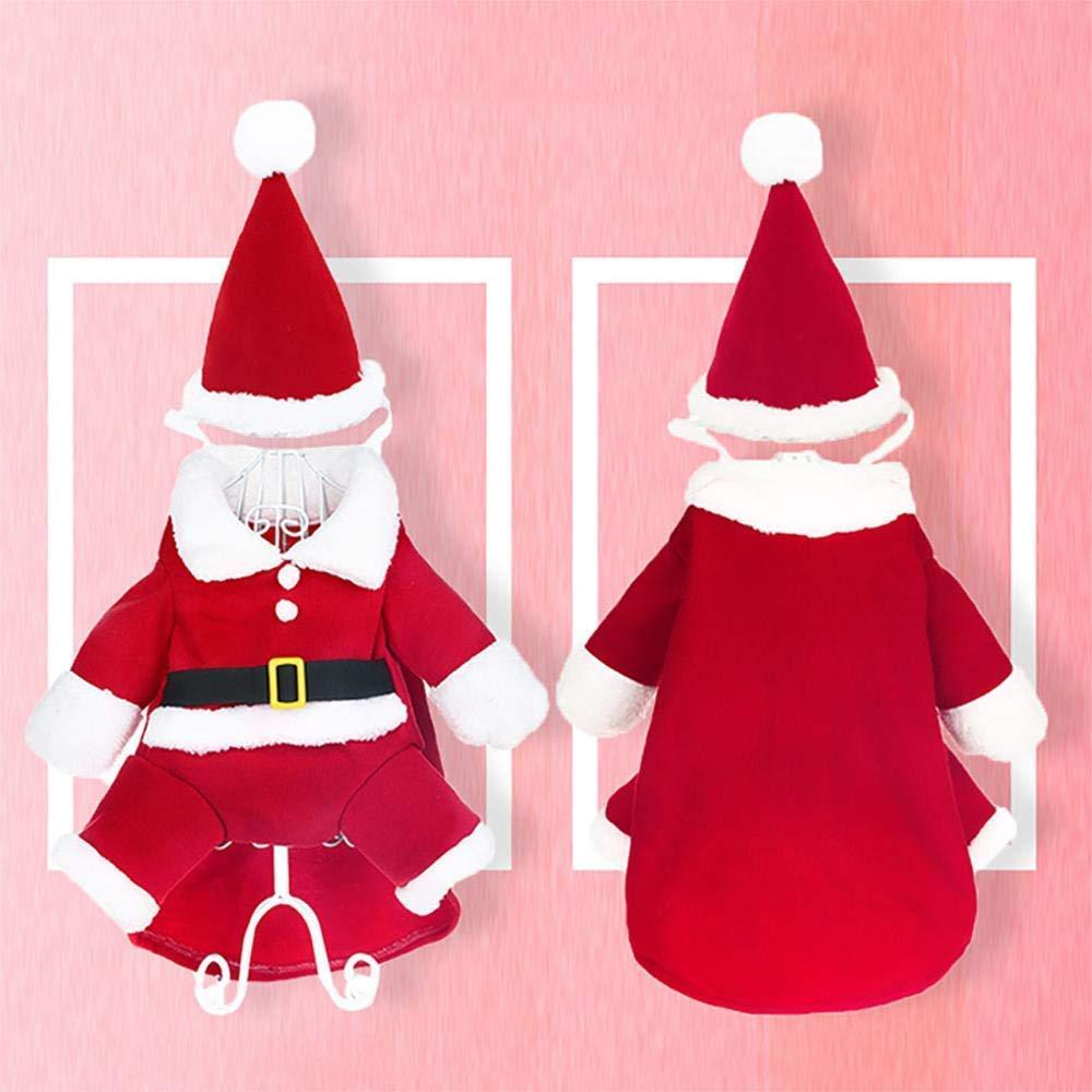 Lomire Hund Katze Weihnachtskost/üme mit Hut Pet Dress Up Weihnachten Bekleidung Hund Weihnachtsmann Mantel Pullover f/ür Kleine Hund Katze