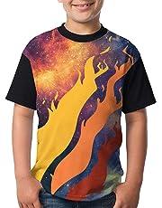 Luminira Youth Video Preston Fire Nation Playz Gamer Flame Boys and Girls Print T-Shirts