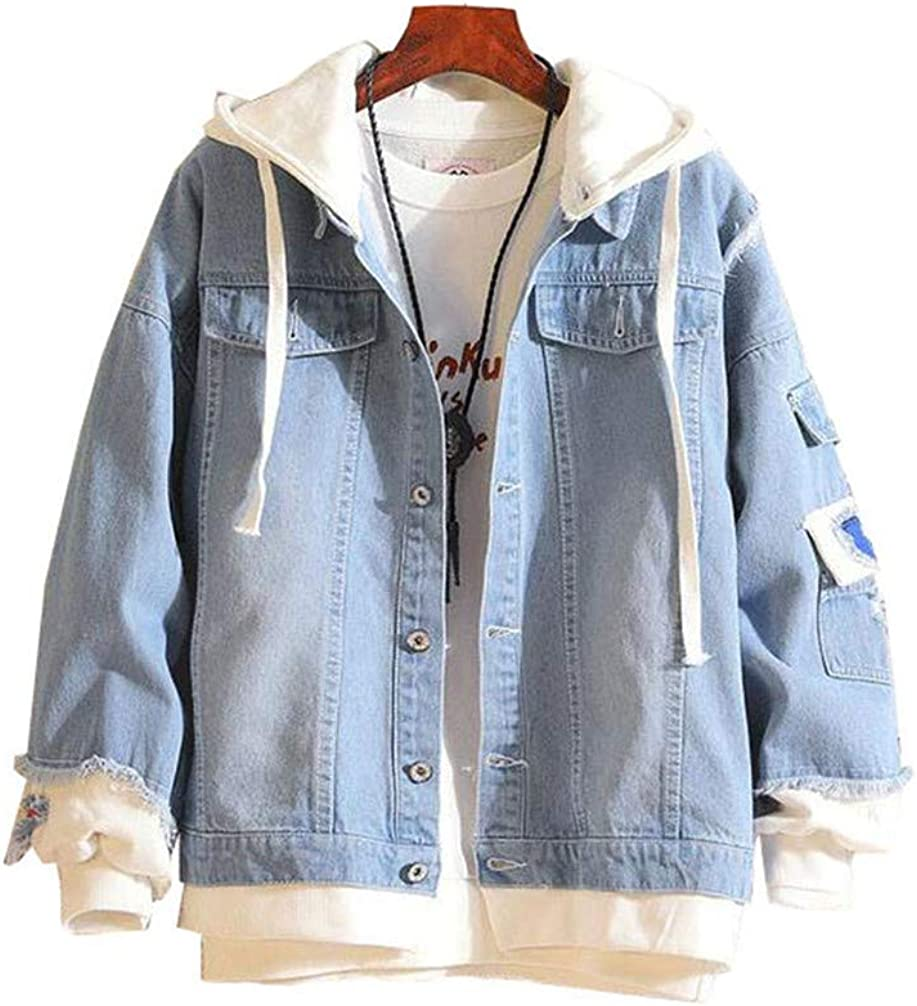 Cosstars Anime Fairy Tail Denim Jacket Hoodie Cappotto Adulto Cosplay Giacche di Jeans Giubbotto Blu 3
