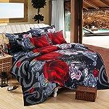 Duvet Cover Sets Chickwin Bedding Plain Microfiber 3D Rose Pringting Design Bedding Bedroom Sets 4Pcs, 1*duvet cover, 1 *Bed Sheet, 2* matching pillowcases For Family Gift (200*230cm +230x230cm+2x48x78cm, Black red rose)