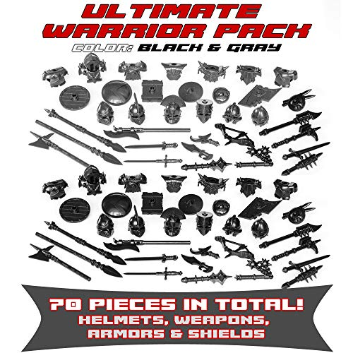 Ultimate Warrior Pack Weapon 70 Pcs: Helmets, Armors, Shields, Swords, Maces, War Hammer, Spears, Halberd and More Weapons for Custom Toy Bricks Minifigures ()