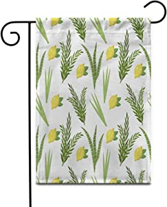 """Awowee 28""""x40"""" Garden Flag Happy Sukkot Holiday Huts Endless Etrog Lulav Arava Outdoor Home Decor Double Sided Yard Flags Banner for Patio Lawn"""