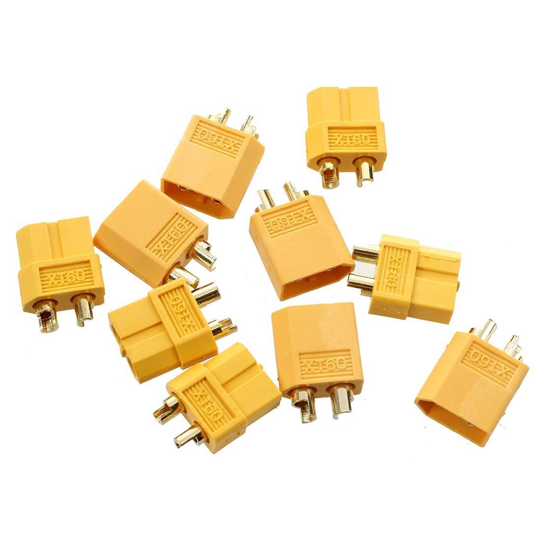 TOOGOO (R) 5 Paar Nylon XT60 T-Plug Lipo Hochstrom Stecker Buchse RC Set Goldstecker Adapter Gelb 041857