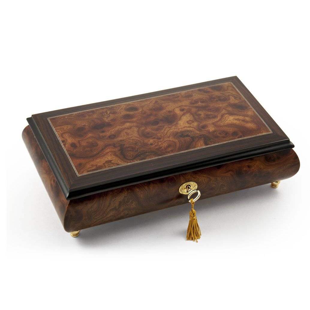 Elegant Classic Style Wood Tone Musical Jewelry Box with Lock and Key - Love is Blue