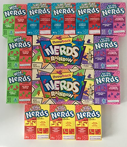 Nerds Variety Bundle 14 Count - 5 Different Flavors Including Throwback Rainbow Nerds, Wild About Nerds, Surf & Turf Nerds, For The Love Of Nerds And Double Dipped 14 Total Boxes