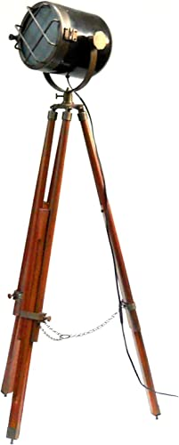 Retro Look Antique Marine Ship Searchlight Nautical Floor Lamp Double Tone Finish Brown Tripod