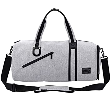 a76addbe4edd LYCSIX66 Small Sports Gym Bag Canvas Men s Travel Duffle Bag Overnight  Carry On Luggage with Shoe